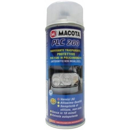 Bomboletta spray Macota PLC 200 trasparente per fari in policarbonato ml. 200