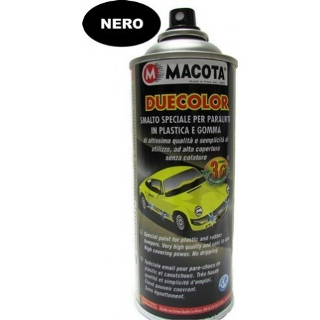 Bomboletta spray Macota Duecolor smalto speciale per paraurti in plastica e gomma Nero ml. 400