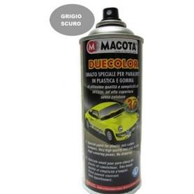 Bomboletta spray Macota Duecolor smalto speciale per paraurti in plastica e gomma Grigio scuro ml. 400